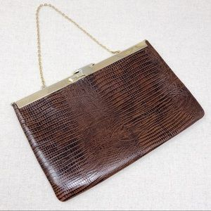 Vintage Brown Snakeskin Style Clutch Purse by Etra